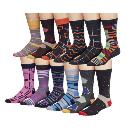 James Fiallo Mens 12 Pack Colorful Patterned Dress Socks M5800,<br /> Fits shoe size 6-12 (sock size 10-13)